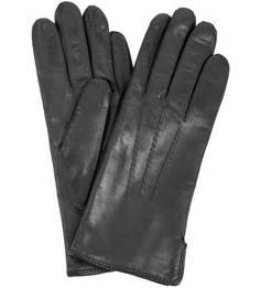 Кожаные черные перчатки с шерстяной подкладкой Bartoc