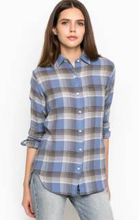 Синяя хлопковая рубашка с карманом D&S Ralph Lauren