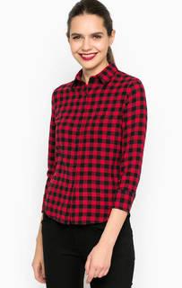 Хлопковая приталенная рубашка в клетку D&S Ralph Lauren