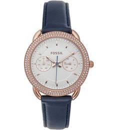 Часы с кожаным браслетом с люминесцентными стрелками Fossil