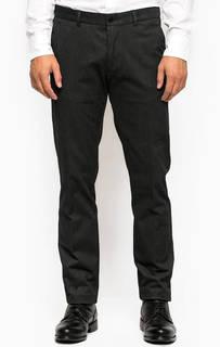 Темно-серые зауженные брюки из хлопка и полиэстера Gant