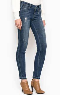 Зауженные рваные джинсы синего цвета Miss Sixty