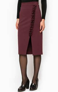 Бордовая юбка-карандаш с разрезом Pois