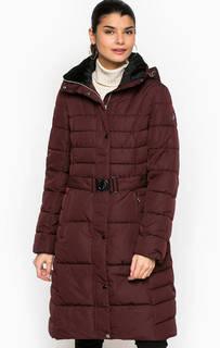 Бордовая демисезонная куртка из полиэстера с поясом Luhta