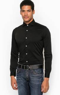 Приталенная черная рубашка из хлопка Liu Jo Uomo