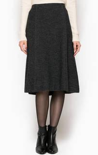 Расклешенная шерстяная юбка серого цвета Marc Opolo