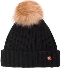 Черная шапка из акрила с помпоном R.Mountain