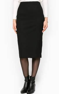 Черная юбка-карандаш с разрезом Stefanel