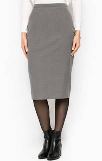 Серая юбка-каранадаш с разрезом Stefanel