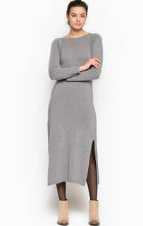 Серое платье с разрезами Stefanel
