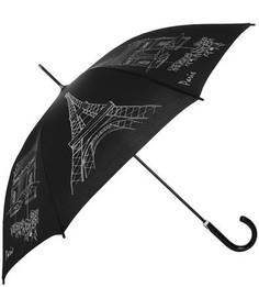Черный зонт-трость с контрастным принтом Doppler