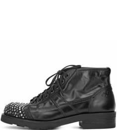 Кожаные ботинки на шнуровке с металлическим декором O.X.S.
