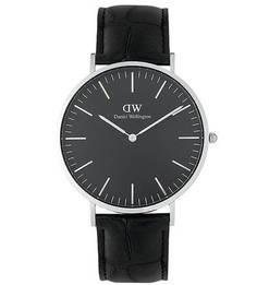 Часы с кожаным браслетом с выделкой под рептилию Daniel Wellington