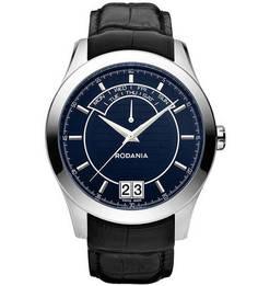 Часы с черным кожаным ремешком Rodania