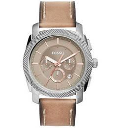 Часы с бежевым кожаным ремешком Fossil