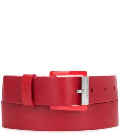 Красный ремень из натуральной кожи Calvin Klein Jeans