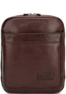 Однотонная кожаная сумка на молнии Sergio Belotti
