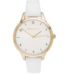 Часы с белым кожаным ремешком Karen Millen