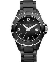 Часы с керамическим браслетом черного цвета Rodania