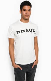 Хлопковая футболка молочного цвета Diesel