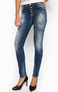 Зауженные джинсы с потертостями MET