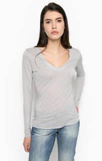 Серая футболка с глубоким вырезом Stefanel