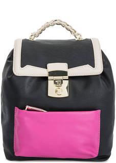 Черный рюкзак с контрастными вставками Trussardi Jeans