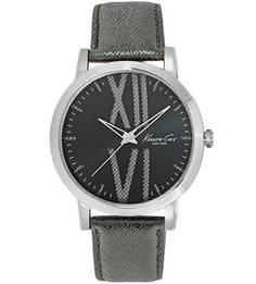 Часы с серым кожаным ремешком Kenneth Cole