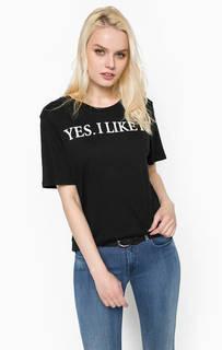 Черная футболка из хлопка с принтом Replay