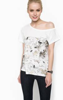 Белая футболка с цветочным принтом Armani Jeans