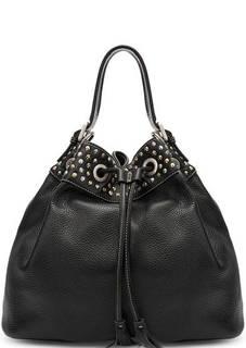 Черная кожаная сумка с металлическим декором Io Pelle