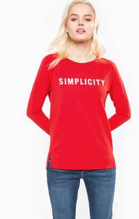 Красная футболка из хлопка и вискозы Marc Opolo