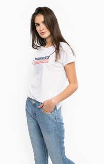 Белая футболка с разрезами по бокам Wrangler