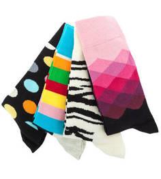 Комплект из четырех пар разноцветных носков Happy Socks