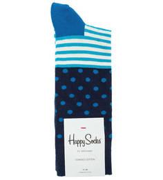 Синие хлопковые носки в полоску и горошек Happy Socks