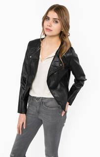 Черная куртка с косой молнией Ichi