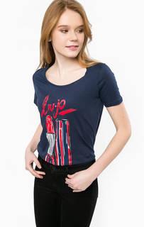 Синяя футболка из хлопка с принтом Liu Jo