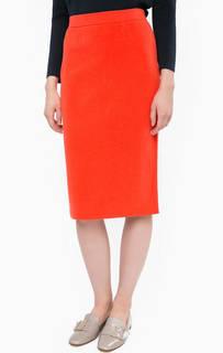 Оранжевая юбка-карандаш на резинке Stefanel