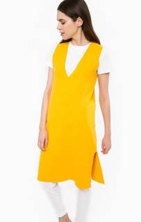 Однотонное платье из вискозы с разрезом Stefanel