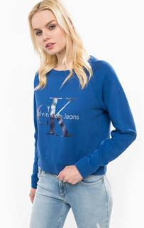 Синий свитшот из хлопка с принтом Calvin Klein Jeans