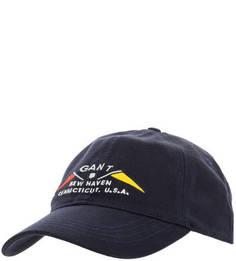 Бейсболка синего цвета с вышивкой Gant