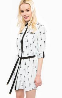 Короткое платье-рубашка из шелка Juicy Couture