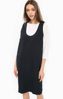 Синее платье без рукавов Stefanel