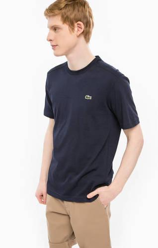 Синяя хлопковая футболка с круглым вырезом