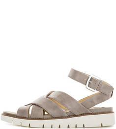 Серые сандалии из натуральной кожи Geox