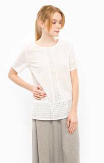 Белая хлопковая блуза с короткими рукавами Ichi