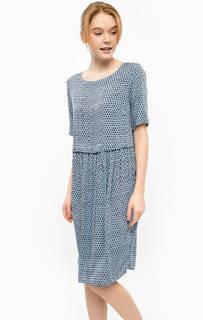 Синее платье с застежкой на спине Ichi