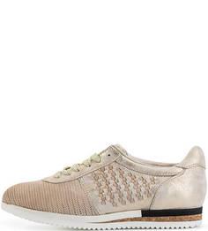 Кожаные кроссовки с плетеными вставками Mjus