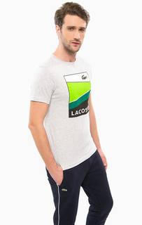 Серая футболка с принтом Lacoste