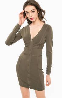 Короткое платье из вискозы цвета хаки Marciano Guess